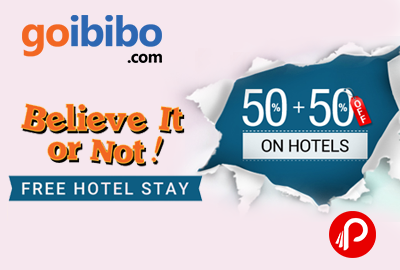 Get 50% off + 50% Cashback on Domestic Hotel booking – GoIbibo