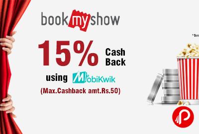 Get Rs.50 off + 15% Mobikwik Cashback - BookMyShow