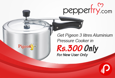 Get Pigeon 3 litres Aluminium Pressure Cooker in Rs.300 Only - Pepperfry