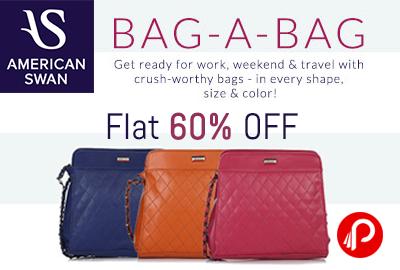 Get Flat 60% off on Handbags - American Swan