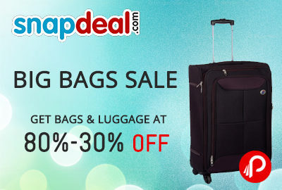 Get UPTO 80% to UPTO 30% discount on branded backpacks, Bags, luggages - Snapdeal