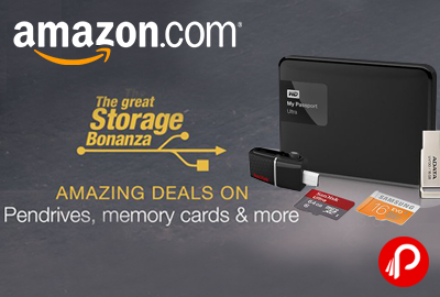 Upto 50% off on Pen Drives, Memory Cards & Hard Drives - Amazon