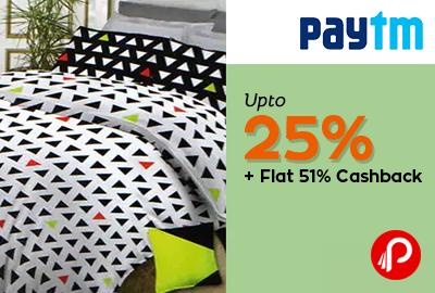 Get UPTO 25% + flat 51% cashback on Bombay Dyeing Bedsheets - Paytm