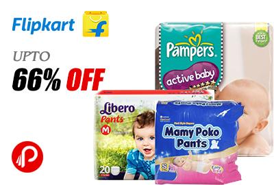 Get UPTO 66% off on Diapers - Flipkart