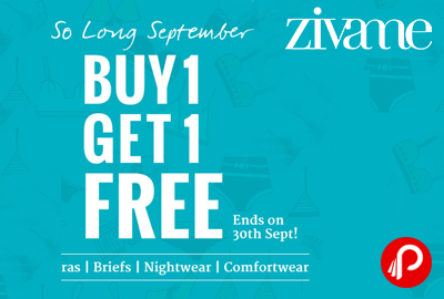 Get Buy 1 Get One free on Bra,Briefs, Nightwear,Comfortwear - Zivame