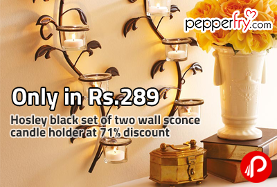 Only in Rs.289 Hosley black set of two wall sconce candle holder at 71% discount