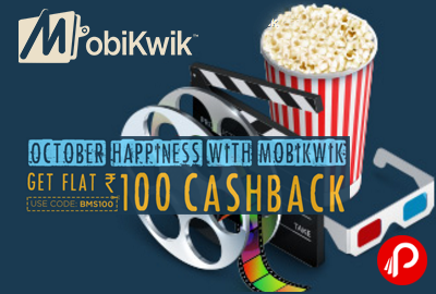 Mobikwik Flat INR 100 Cashback on BookMyShow