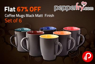 376e7524e3a Coffee Mugs Black Matt Finish | Set of 6 only in Rs. 199 | Flat 67% OFF –  Pepperfry. Best Online ...