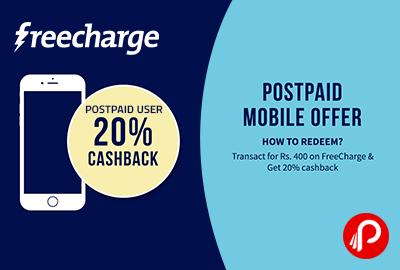 Get 20% cashback on Postpaid Mobile Bill - FreeCharge