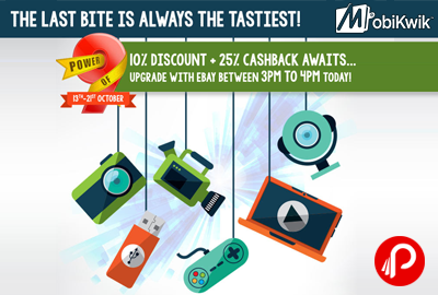 Get 25% cashback up to ₹100 on Ebay | Mobikwik Power of 9 offers - Ebay