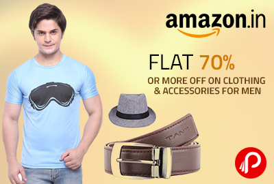 Flat 70% or More OFF on Clothing & Accessories For Men - Amazon