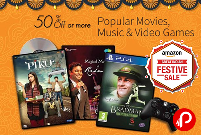 Get UPTO 50% off on Popular Movies, Music & Video Games in Dhamaka Deals - Amazon