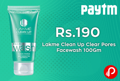 Get 40% cashback Lakme Clean Up Clear Pores Facewash 100Gm - Paytm