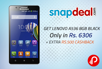 Get Lenovo A536 8GB Black Only in Rs. 6306+ Extra Rs.500 Cashback - Snapdeal