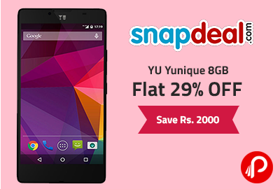 YU Yunique 8GB | Flat 29% OFF | Save Rs. 2000 - Snapdeal