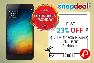 Flat 23% OFF on MI4I 16GB Phone + Rs. 500 Cashback - Snapdeal