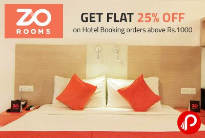 Get Flat 25% off on Hotel Booking orders above Rs.1000 - Zorooms