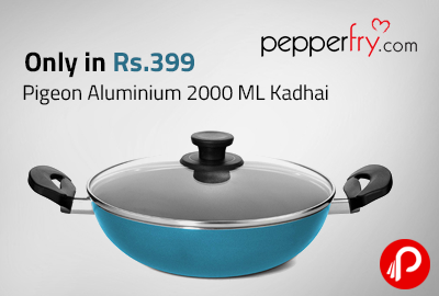 Only in Rs.399 Pigeon Aluminium 2000 ML Kadhai - Pepperfry