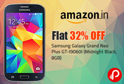 Samsung Galaxy Grand Neo Plus GT-I9060I (Midnight Black, 8GB) | Flat 32% Off - Amazon
