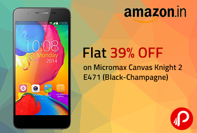 Flat 39% OFF on Micromax Canvas Knight 2 E471 (Black-Champagne) - Amazon