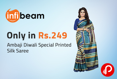 Only in Rs.249 Ambaji Diwali Special Printed Silk Saree - Infibeam