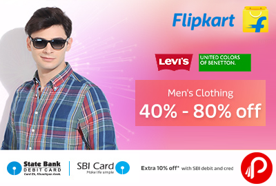 Get 40%- 80% off on Men's Clothing - Flipkart