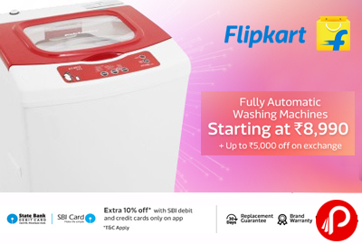 Fully Automatic Washing Machines Starting at Rs.8990 + UPTO 5000 on exchange - Flipkart