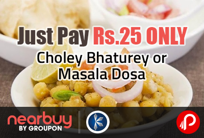 Just Pay Rs.25 ONLY for Choley Bhaturey or Masala Dosa @ Kanha Sweets - Nearbuy /Groupon