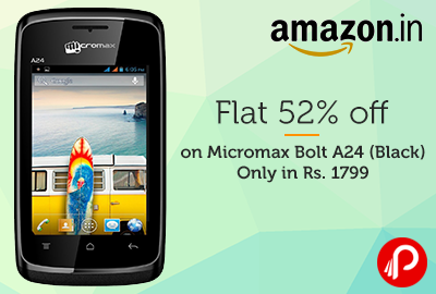Flat 52% OFF on Micromax Bolt A24 (Black) | Only in Rs. 1799 - Amazon