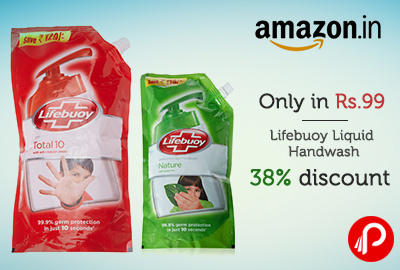 Only in Rs.99 Lifebuoy Liquid Handwash | 38% discount - Amazon