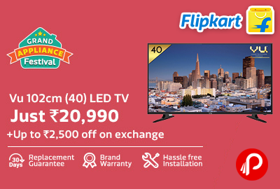 Only in Rs.20990 Vu 102cm (40inch) LED TV - Flipkart