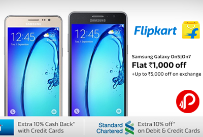 Get Flat Rs.1000 off on Samsung Galaxy On5 On7 Mobile - Flipkart