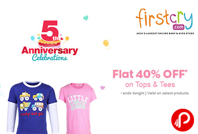 5th Anniversary Celebrations | Flat 40% OFF on Tops & Tees - Firstcry