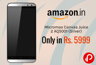 Micromax Canvas Juice 2 AQ5001 (Silver) Only in Rs. 5999 - Amazon