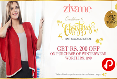 Get Rs. 200 off on Winterwear Worth Rs. 1199 | Countdown to Christmas - Zivame