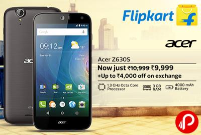 Get Acer Z630S Mobile Just Rs. 9999 + UPTO Rs.4000 off on Exchange - Flipkart