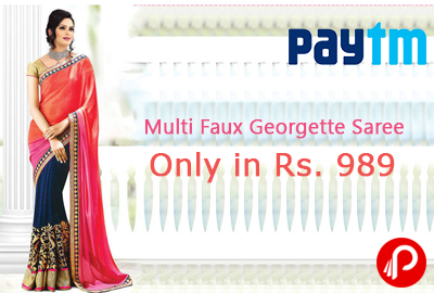 Get Multi Faux Georgette Saree Only in Rs. 989 | Best Trading - Paytm