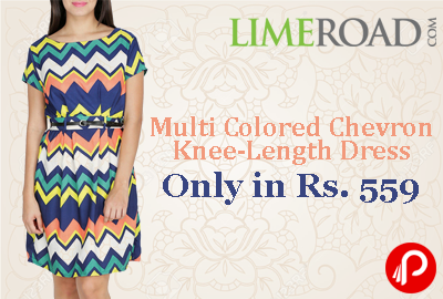 Get Multi Colored Chevron Knee-Length Dress Only in Rs. 559 - LimeRoad