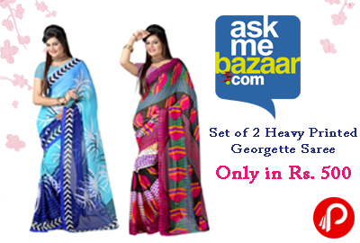 Grab Set of 2 Heavy Printed Georgette Saree 75% off Only in Rs. 500 - AskMeBazaar
