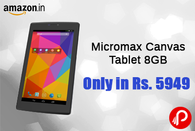 Get Micromax Canvas Tablet 8GB, WiFi, 3G, Voice Calling Only in Rs. 5949 - Amazon