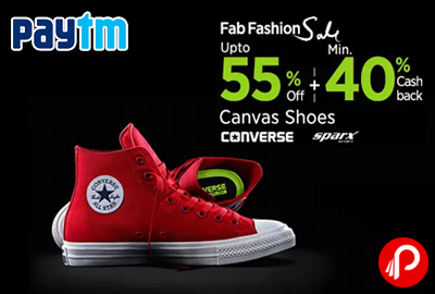 Get UPTO 55% off + 40% CashBack on Canvas and Sparx Shoes   Fab Fashion Sale - Paytm