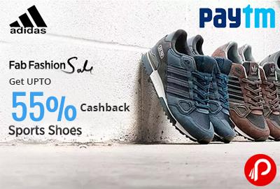 Get UPTO 55% CashBack on Adidas Sports Shoes   Fab Fashion Sale - Paytm