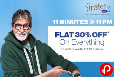 Get Flat 30% off Everything for 11 Mintues @ 11 PM - Firstcry
