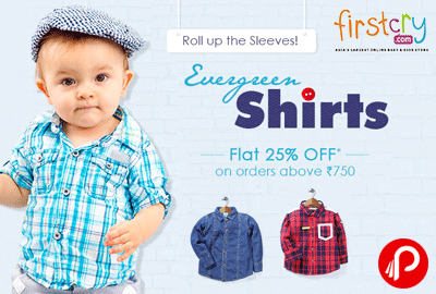 Get Flat 25% off on Evergreen Shirts - Firstcry