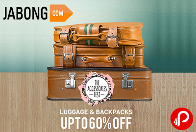 Get UPTO 60% off on Luggage & Backpacks   The Accessories Fest - Jabong