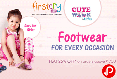 Get Flat 25% off on CuteWalk Babyhug Footwears - Firstcry