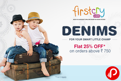 Get Flat 25% off on Demins orders above Rs. 750 - Firstcry