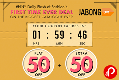 Get Flat 50% + Extra 50% off on SiteWide Collection - #HNY - Jabong