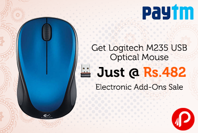 Get Logitech M235 USB Optical Mouse Just @ Rs. 482 | Electronic Add-Ons Sale - Paytm