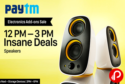 Get UPTO 40% off Insane Deals on Speakers Electronic Add Ons Sale   12PM - 3PM - Paytm